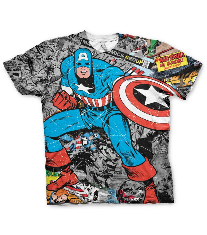 Marvel Classic T-Shirt: Captain America (allover)